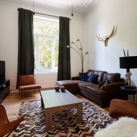 beautifully decorated living room in a shared flat for expats