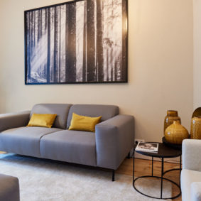 stylish living room with quality sofas in a shared flat for expats in Brussels