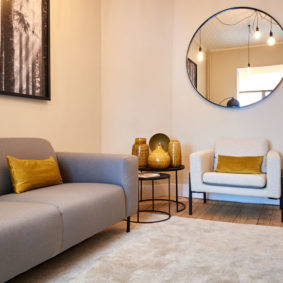 design living room decorated with taste in a magnificent fully refurbished shared house for expats in Etterbeek close to different points of interest