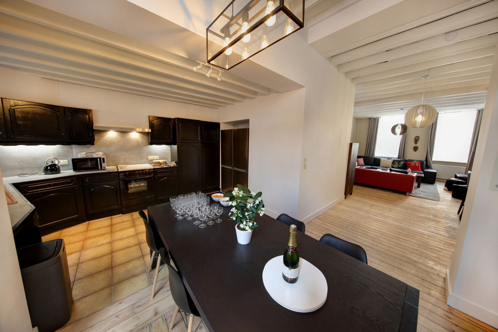 spacious living room in a shared house for 8 young professionals close to the city center of Brussels