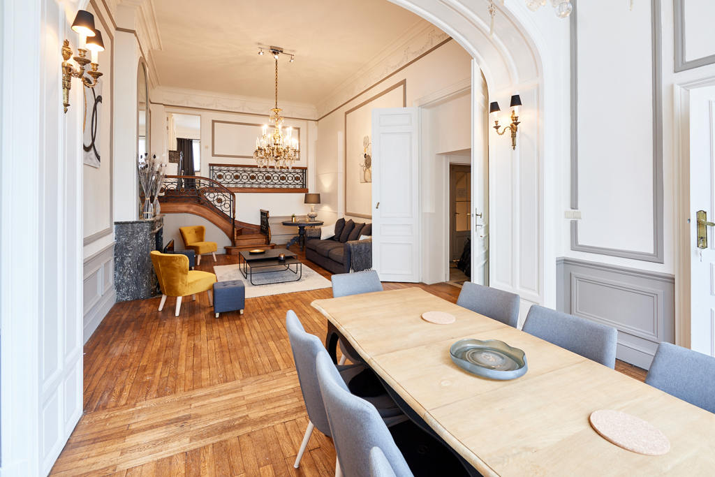 well-decorated dining room with stylish furniture in a shared house for expats in Brussels