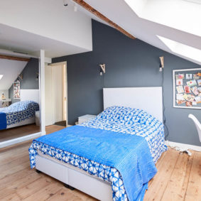 well decorated room in a blue style with a private shower in a fully refurbished shared house