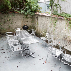 lovely terrace with a BBQ in a shared house for expats in Brussels close to the European Commission