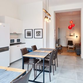 fully equipped kitchen in a shared flat for expats in Brussels next to Schuman train station