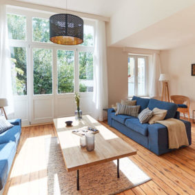 living room tastefully decorated in a fully refurbished house of 2019 in Ixelles