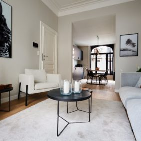 well designed living room with plants and cozy carpet in a shared house for young professionals in Brussels