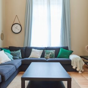 lovely living room decorated with taste in a fully refurbished coliving space in brussels with young international workers