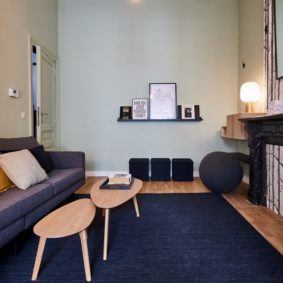well designed living room with sofa and cozy carpet in a shared house for young professionals in Brussels near the European commission