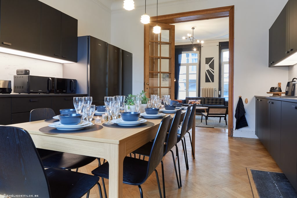 Fully-furnished kitchen for a shared space in Brussels Ixelles with young expats