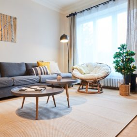 Comfortable living room in a coliving house shared by international professionnals in Schaerbeek, Brussels