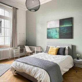 High-end room with garden view decorated by a Belgian designer with taste in co-housing home comfortable for homeworking