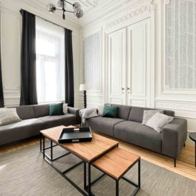 Luminous living room in big house to share with young internationals in Saint-Gilles near Porte de Hal
